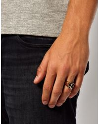 ASOS - Metallic Signet Ring With Anchor for Men - Lyst