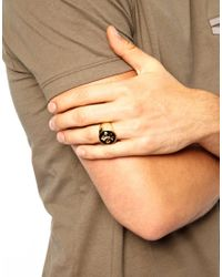 ASOS - Metallic Signet Ring with Fleur De Lis for Men - Lyst