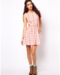 ASOS - Multicolor Petite Exclusive Skater Dress with Tie Back - Lyst
