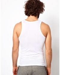 Emporio Armani - White Stretch Cotton Slim Fit Vest for Men - Lyst