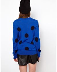 Equipment - Blue Polka Dot Knitted Jumper in Merino Wool - Lyst