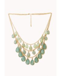Forever 21 | Green Show Off Layered Teardrop Necklace | Lyst