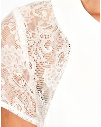 Love - White Swing Dress with Lace Insert - Lyst