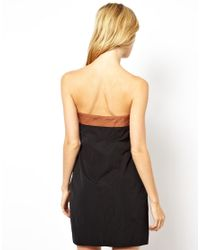 Mademoiselle Tara - Black Bandeau Dress With Bow Detail - Lyst