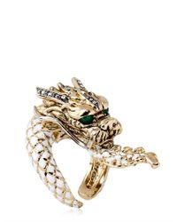 Roberto Cavalli | Metallic Swarovski Dragon Ring | Lyst