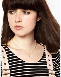 ASOS - Metallic Limited Edition Love Pearl Necklace - Lyst