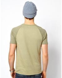 ASOS - Natural Tshirt with Contrast Raglan Sleeves for Men - Lyst