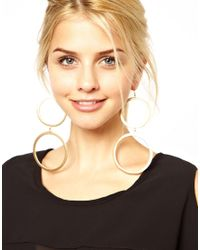Kenneth Jay Lane | Metallic Statement Double Hoop Earrings | Lyst