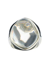 Kenneth Jay Lane - Metallic Oval Stone Ring - Lyst