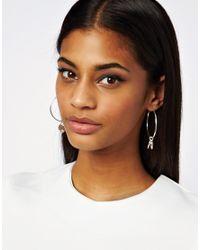 Lipsy - Metallic Charm Hoop Earrings - Lyst