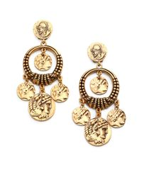 Oscar de la Renta | Metallic Coin Door Knocker Clipon Earrings | Lyst
