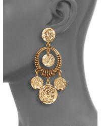 Oscar de la Renta - Metallic Coin Door Knocker Clipon Earrings - Lyst
