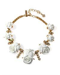 Oscar de la Renta - Metallic Rose and Gold Chain Necklace - Lyst