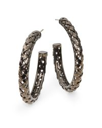 Slane | Metallic Sterling Silver Basketweave Hoop Earrings35 | Lyst