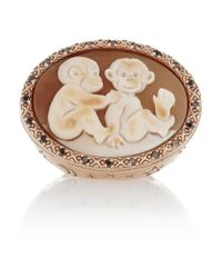 Amedeo - Brown Rose Goldplated Carnelian Shell and Diamond Monkey Cameo Ring - Lyst