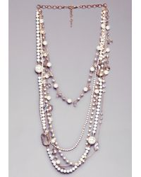 Bebe | Metallic Crystal Clusters Necklace | Lyst
