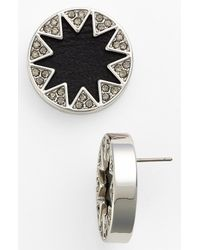 House of Harlow 1960 | Metallic Pavé Leather Sunburst Stud Earrings | Lyst