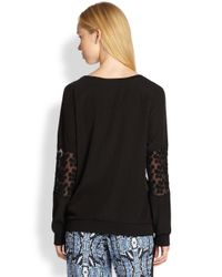 Pjk Patterson J. Kincaid | Black Spectra Floralembroidered Sheerpaneled Sweatshirt | Lyst