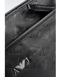 Armani Jeans - Black All Over Logo Eco Leather Flat Shoulder Bag for Men - Lyst