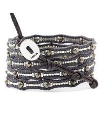 Chan Luu | Black Pyrite Scalloped Wrap Bracelet On Natural Grey Leather | Lyst
