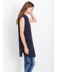 Vince - Blue Suede Sleeveless Button Up Vest - Lyst