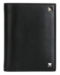 Valentino - Black 'rockstud' Card Holder for Men - Lyst