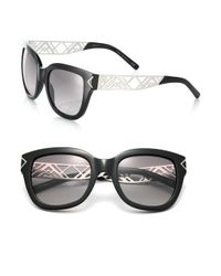 Tory Burch | Black Chevron Arm 53mm Square Sunglasses | Lyst