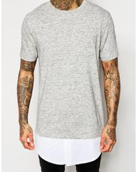 ASOS - Gray Super Longline T-shirt With Mock Shirt Hem In Grey Inject Fabric for Men - Lyst