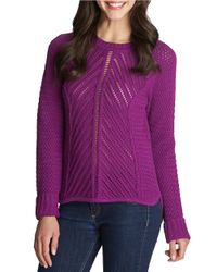 1.STATE | Purple Ribbed-knit Textured Sweater | Lyst