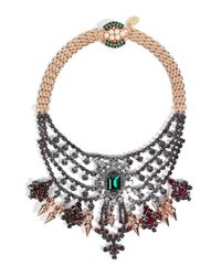 Mawi - Pink Rose Gold-plated Tiered Crystal Necklace  - Lyst