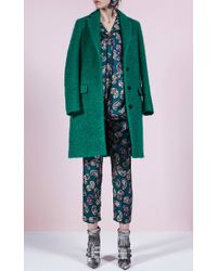 MSGM | Green Wool Boucle Coat | Lyst