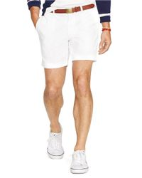 "Polo Ralph Lauren | White Classic-Fit Flat-Front 6"" Chino Short for Men 