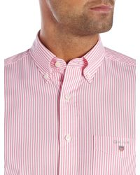 GANT - Pink Banker Stripe Classic Fit Shirt for Men - Lyst