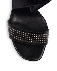 Saint Laurent - Black Jane Studded Leather Sandals - Lyst