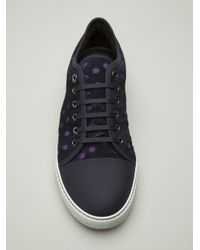 Lanvin | Blue Perforated Lace Up Sneaker for Men | Lyst
