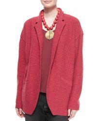 Eileen Fisher - Red Lightweight Boiled Wool Jacket - Lyst