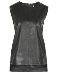 TOPSHOP - Black Oversized Leather Tank Vest - Lyst
