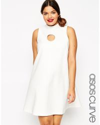 ASOS - White Funnel Neck Shift Dress With Cut Out Circle - Lyst