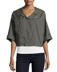 Joie - Gray Marlin Cropped Nylon Anorak Jacket - Lyst