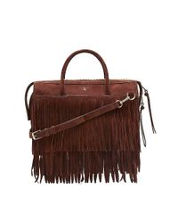 Vince Camuto | Brown Vc Signature Kilty- Structured Suede Fringe Satchel | Lyst