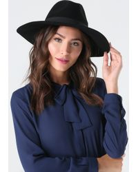 Bebe | Black Jewel Brim Floppy Hat | Lyst