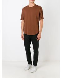 JOSEPH - Brown Curved Hem T-shirt for Men - Lyst