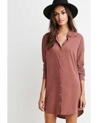 Forever 21 - Purple Shift Shirt Dress - Lyst