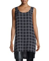 Eileen Fisher - Gray Sleeveless Buffalo Check Silk Tunic - Lyst