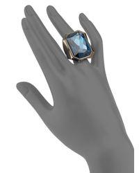 Judith Leiber - Blue Crystal Beveled Cocktail Ring - Lyst