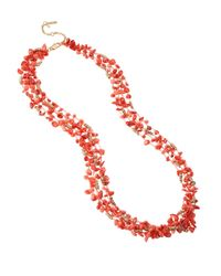 Kenneth Cole - Pink Coral Chip Multi-Row Necklace - Lyst