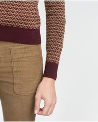 Zara | Purple Micro Jacquard Sweater | Lyst