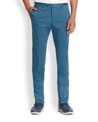 PT01 - Blue Flat-front Linen & Cotton Trousers for Men - Lyst