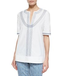 Tory Burch - Multicolor Embroidered Poplin Tunic - Lyst