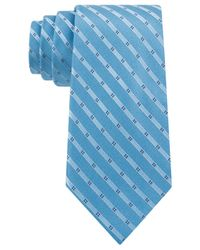 Michael Kors - Blue Michael Four Point Tonal Stripe Slim Tie for Men - Lyst